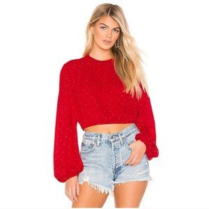NEW Beach Riot Maddy Red Stud Long Sleeve Blouse